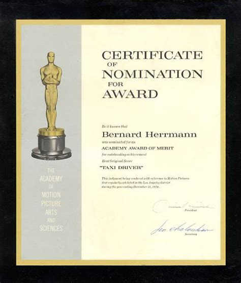 nomination certificate template golden memorabilia gallery