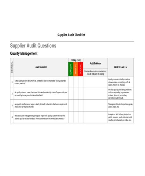 supplier audit schedule template 43 checklist templates exles sles