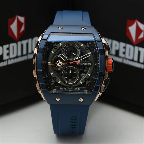 jam tangan expedition   pria rosegold blue rubber