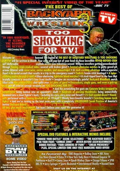 backyard wrestling dvd best of backyard wrestling 3 the too shocking for tv