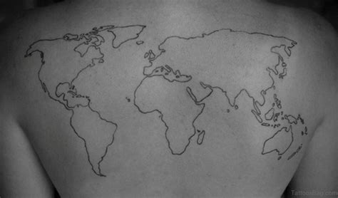 world map outline tattoo 64 map tattoos for back