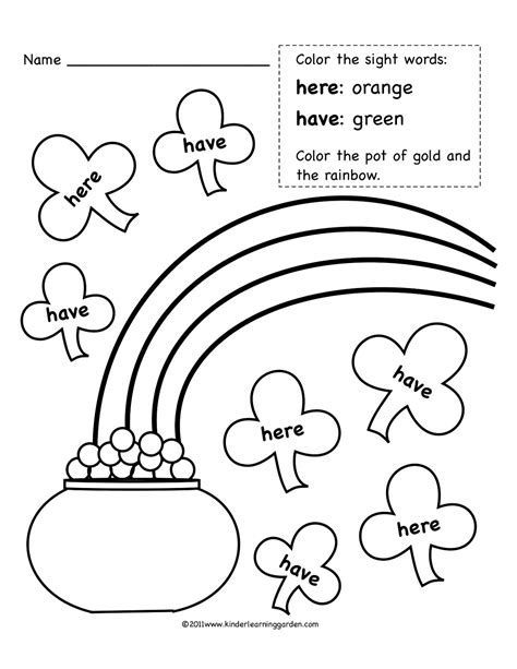 preschool coloring pages for march kinder learning garden march sight words freebie