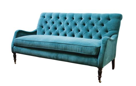 peacock blue tufted velvet sofa
