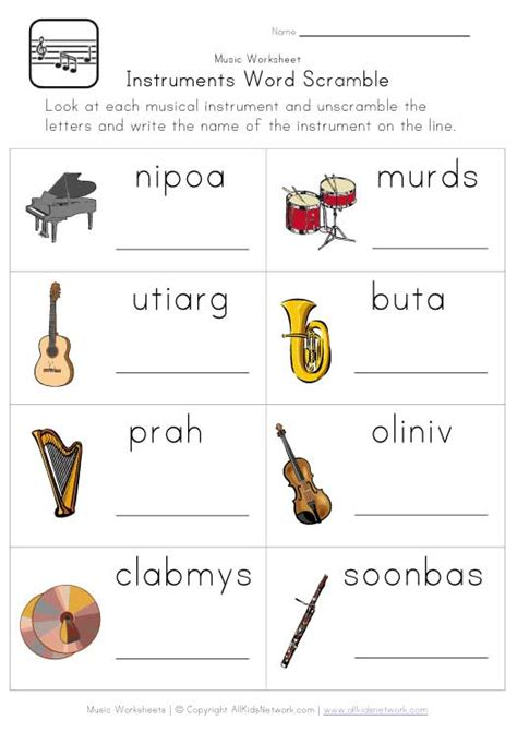 printable music lesson plans instruments of the orchestra instruments word scramble worksheet classroom