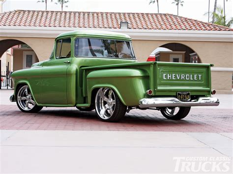 green paint sles 1956 chevy stepside pickup truck exceptional green paint