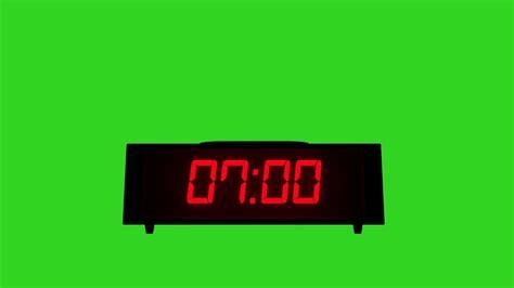 digital alarm clock green screen footage