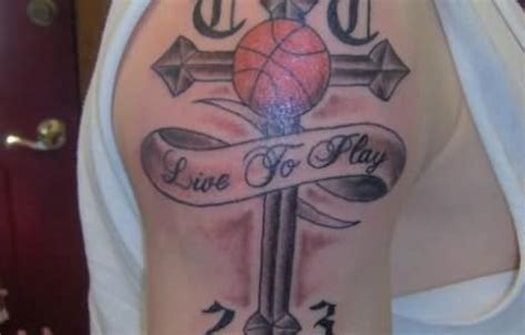 basketball cross tattoo cross with banner and basketball