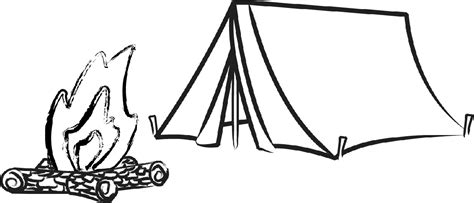 Tent Clipart Black And White Camping sketch template
