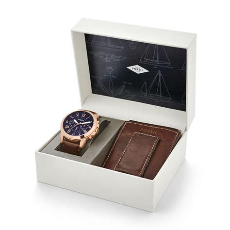 Fossil Chronograph Set Fs5188set montre grant chronographe en cuir bleu