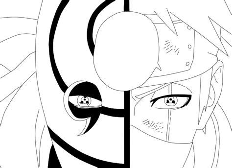 Naruto 597: Tobi and Kakashi LineArt by NinjaMia on DeviantArt