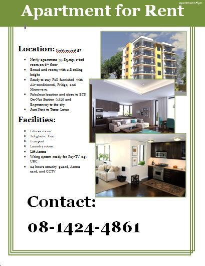 apartment for rent flyer template images