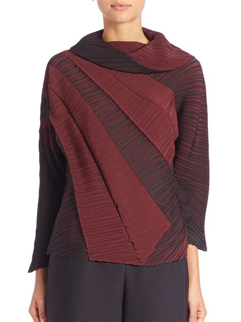 Miyake Top issey miyake swell pleated top in lyst