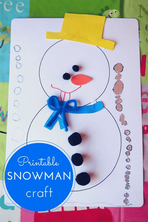 free kid crafts printable snowman craft for