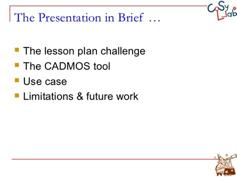 design brief lesson plan cadmos a learning design tool for moodle courses