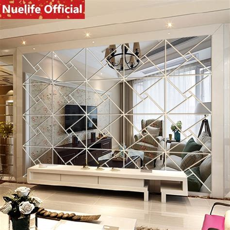 abstract geometric design acrylic mirror stickers office