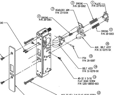 schlage mortise lock parts diagram schlage mortise lock