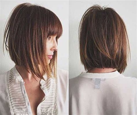 lip length bob with soft fringe front and back image long inverted bob with layers hair pinterest long