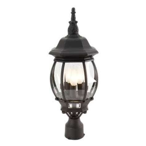 Outdoor Lantern Post Lights Hton Bay 3 Light Black Outdoor Post Lantern Gnc1813a Bk The Home Depot