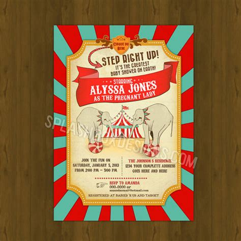Circus Baby Shower by Vintage Circus Baby Shower Invitation On Storenvy