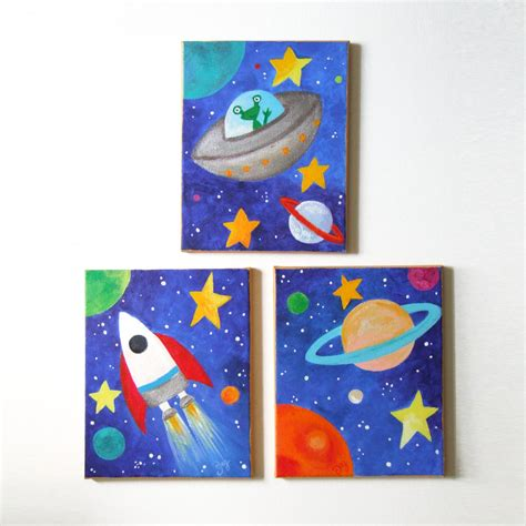 Outer Space Bedroom Decor kids wall art space art set set of 3 8x10 acrylic canvases