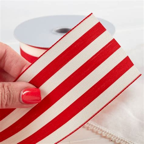 "2 1/2"" Red and White Striped Ribbon   Ribbon and Trims"