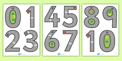 free printable road numbers road themed number formation road themed number formation