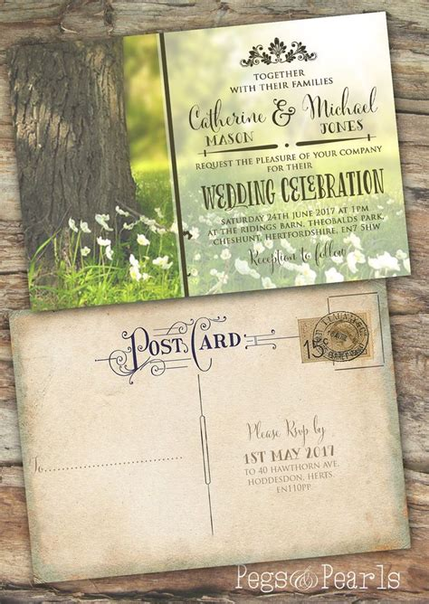 Einladung Postkarten Hochzeit by Personalised Photo Rustic Vintage Postcard Wedding