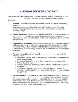 contract for services agreement sle janitorial