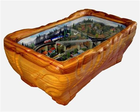 Mancave Model Train Train Coffee Table Wood Carving Coffee Table Model Railroad