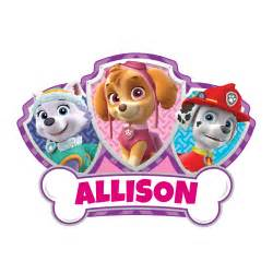 Paw patrol skye and pups easy move canvas decal personalized planet
