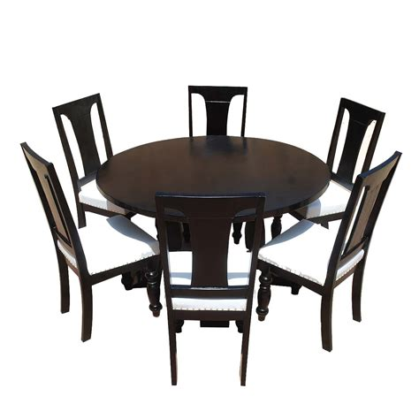 leather dining room sets california solid wood leather 7p round dining room set