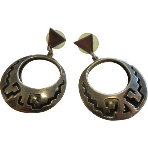 vintage taxco mexico sterling silver stud earrings from