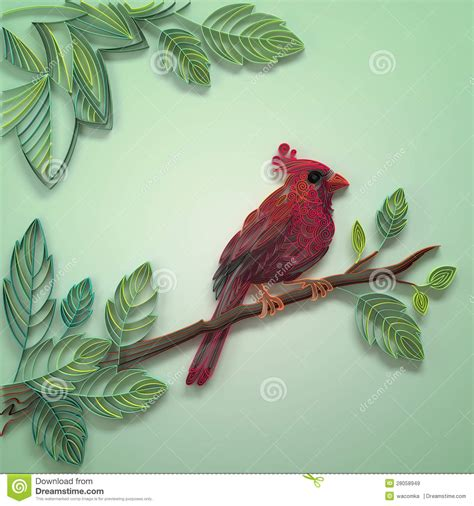 Color Quilling Paper Bird Stock Illustration Illustration Design In Colored Paper L