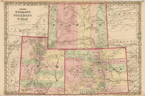 utah colorado map antique map colton s wyoming colorado and utah 1876