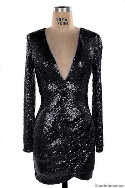 sequin long sleeve  cut  neck mini dress black