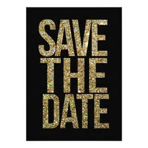 black amp gold glitter save the date typography invitation card