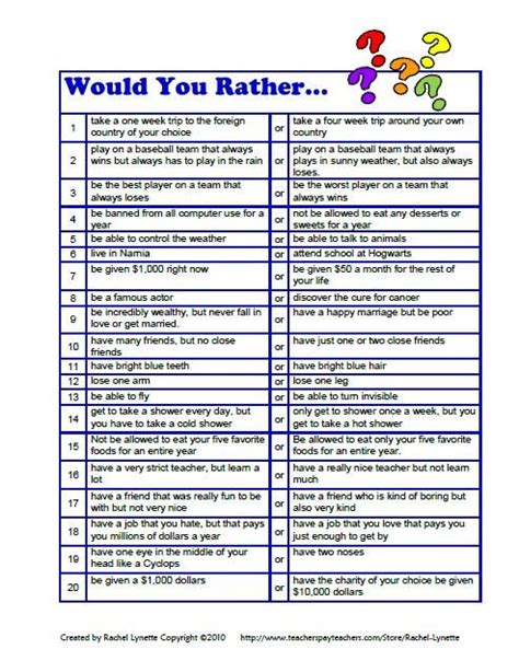 Or Question For Adults 20 Would You Rather Questions For Downloaded For Free From Here Http Www