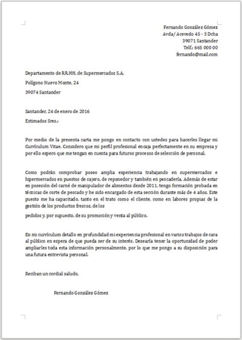 Modelo Carta De Presentacion Curriculum Administrativo Ejemplo De Carta De Presentaci 243 N Para Supermercado