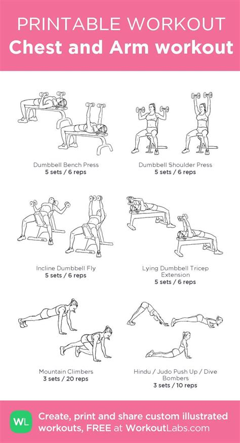 chest and arm workout my custom printable workout by