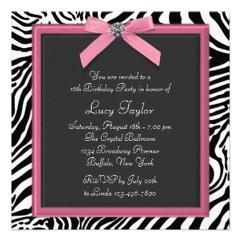 zebra pattern invitations personalized party invitations announcements party