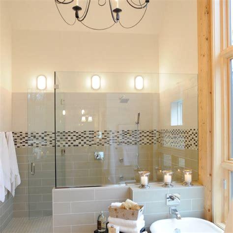 Glass Shower Half Wall by Walk In Shower Glass Half Wall Wood Trim Bathroom Inspiration Half