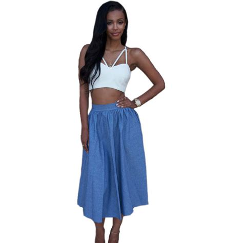 skirt set clothing 2015 new fashion clothes set sleeveless casual crop top and skirt