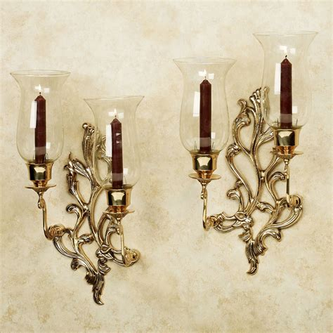 Wall Sconce by Concetta Polished Brass Sconce Pair