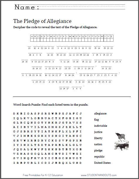 Patriot Day Worksheets by Pledge Of Allegiance Puzzle Worksheet Great For Flag Day