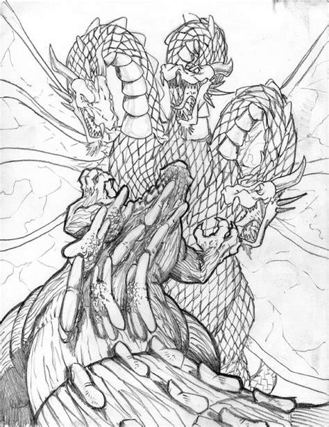 king ghidorah coloring page godzilla vs king ghidorah by mjtannacore on deviantart