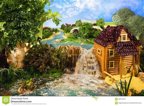 Landscape With Food Landscape With Watermill Made From Food Stock Image