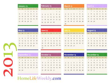 printable calendar 2013 171 home weekly