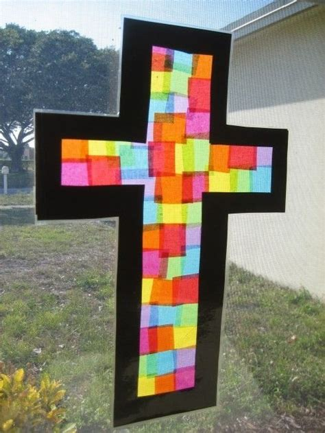 stained glass crafts for stained glass cross craft sunday school activities