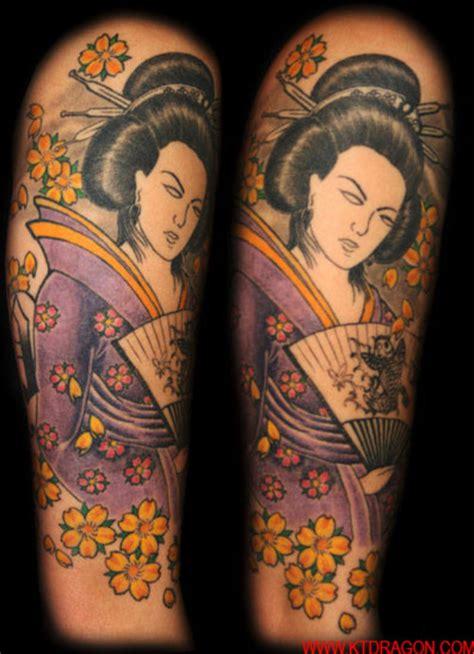 geisha tattoo cherry blossom purple geisha with yellow cherry blossoms tattoo picture