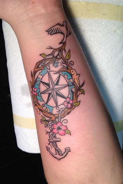 tattoo compass bird 48 best anchor compass tattoos